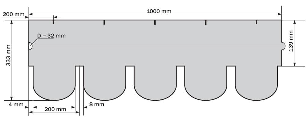 размер гонта Ruflex Ornami