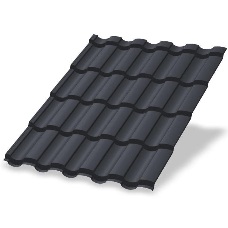 Металлочерепица МеталлПрофиль Монтекристо Puretan RR23 (Серый графит)