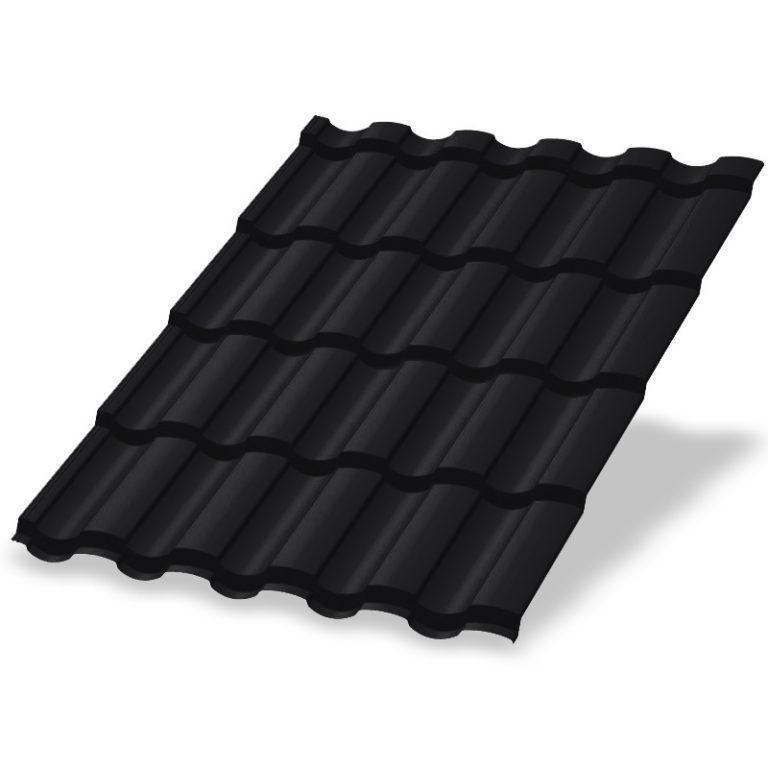 Металлочерепица МеталлПрофиль Монтекристо Purman RAL 9005 (Черный)