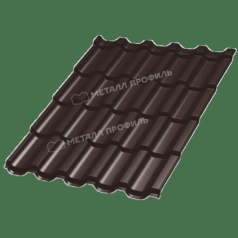 Металлочерепица МеталлПрофиль ТРАМОНТАНА Prisma RAL 8017 (Коричневый шоколад)