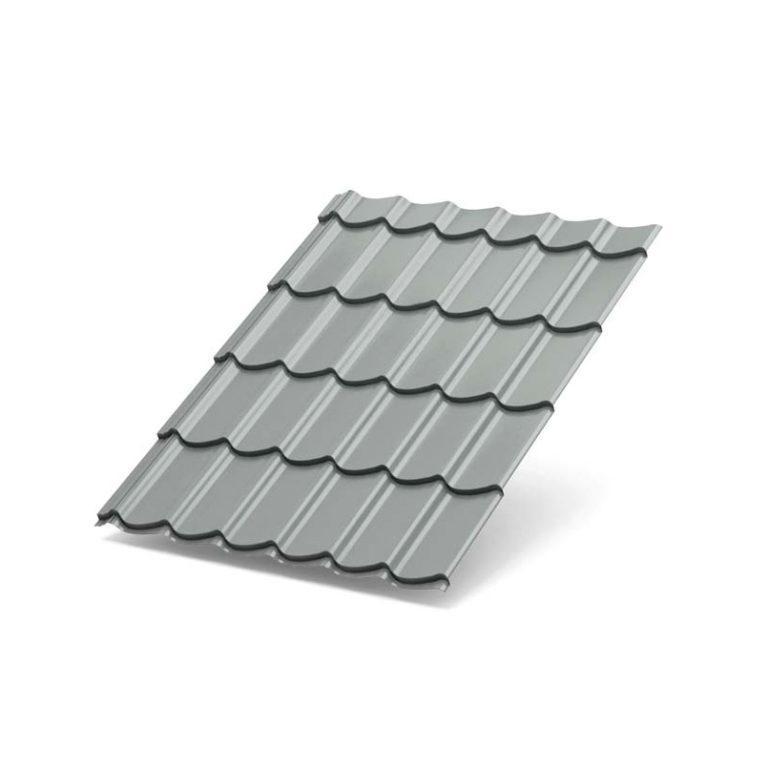 Металлочерепица СУПЕРМОНТЕРРЕЙ Norman RAL 9006 (Белый алюминий)