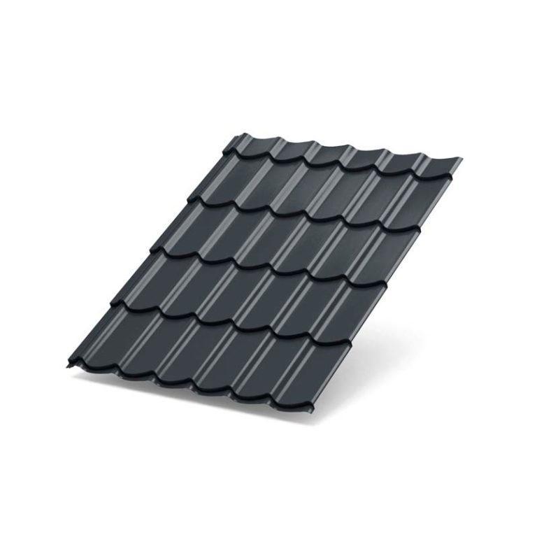 Металлочерепица МеталлПрофиль Супермонтеррей Purman RAL 7024 (Серый графит)