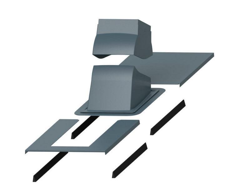 Piippu Modular проходной элемент с окантовкой для вывода на натуральную черепицу металлочерепицу фальцевую кровлю квадратных в сечении дымовых труб RR23 (RAL7015)