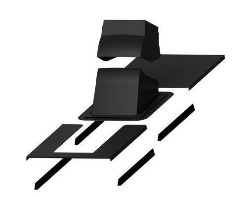 Piippu Modular проходной элемент с окантовкой для вывода на натуральную черепицу металлочерепицу фальцевую кровлю квадратных в сечении дымовых труб RR33 (RAL9005)