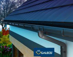 Galeco PVC2, цвет — черный (RAL9005), пластиковая прямоугольная водосточная система