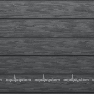 Металлический сайдинг AQUASYSTEM широкая скандинавская доска Pural matt 213 мм. Цвет Маренго (RR23, RAL7024) матовый серый.