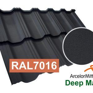 Модульная металлочерепица Dachpol EGERIA ArcelorMittal Deep Matt, RAL7016 Антрацит