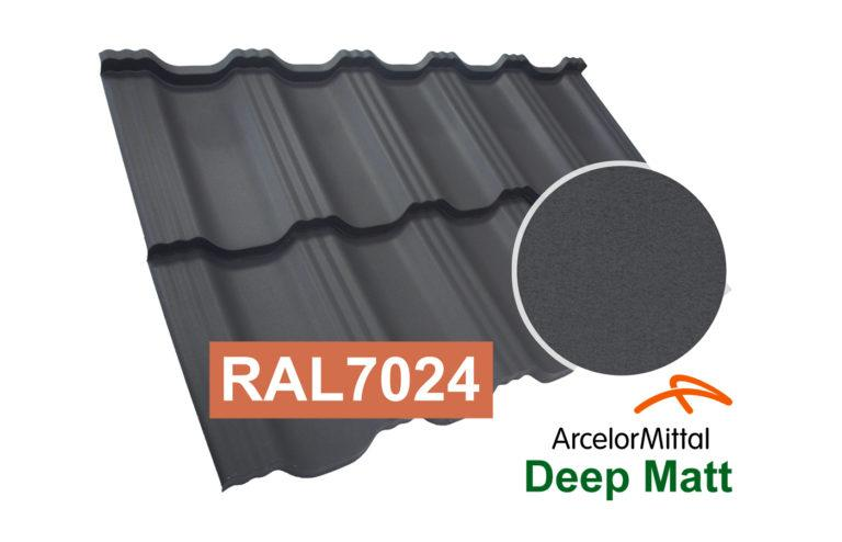 Модульная металлочерепица Dachpol EGERIA ArcelorMittal Deep Matt, RAL7024 Графит (серый)