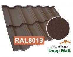 Модульная металлочерепица Dachpol EGERIA ArcelorMittal Deep Matt, RAL8019 Темно-коричневый