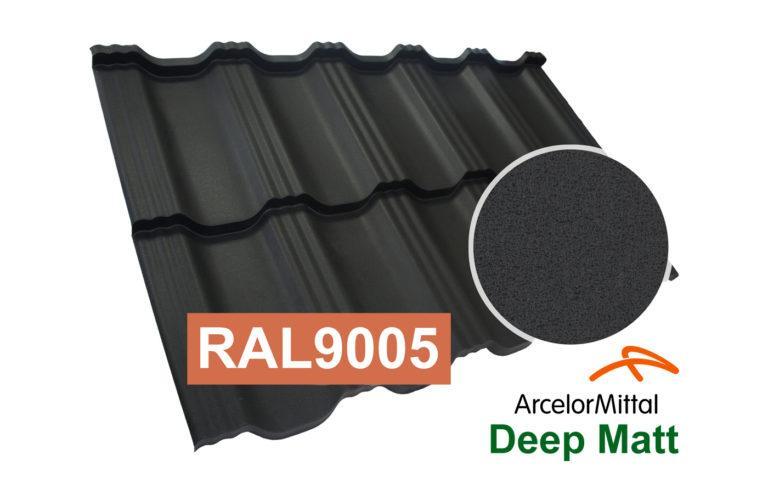 Модульная металлочерепица Dachpol EGERIA ArcelorMittal Deep Matt, RAL9005 Черный