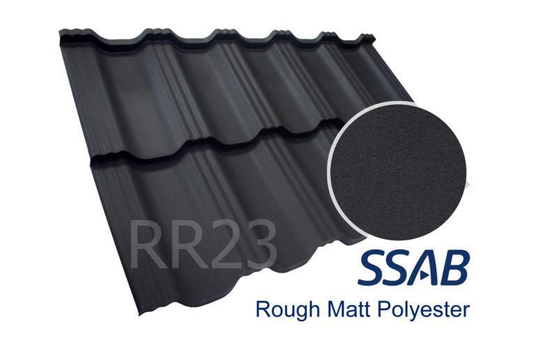 Модульная металлочерепица Dachpol EGERIA SSAB Polyester Rought Matt, RR23 Серый