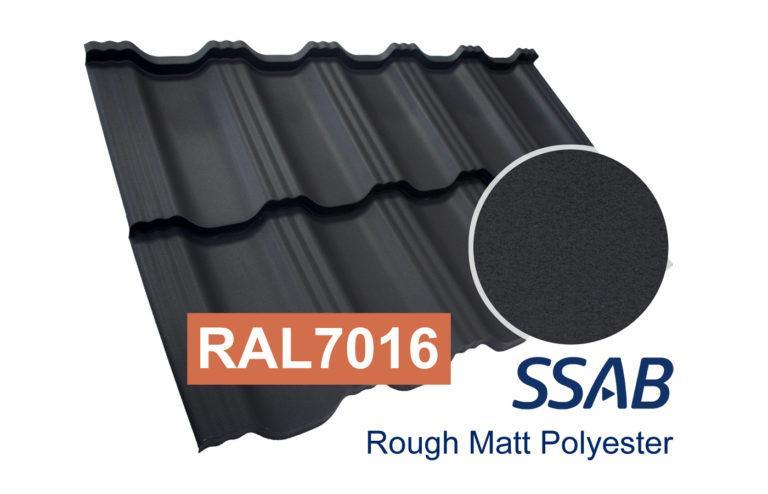 Модульная металлочерепица Dachpol EGERIA SSAB Polyester Rought Matt, RR2H3 Антрацит