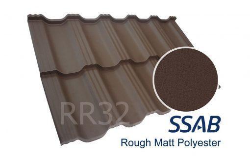 Модульная металлочерепица Dachpol EGERIA SSAB Polyester Rought Matt, RR32 Темно-коричневый