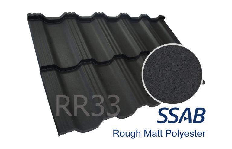 Модульная металлочерепица Dachpol EGERIA SSAB Polyester Rought Matt, RR33 Черный