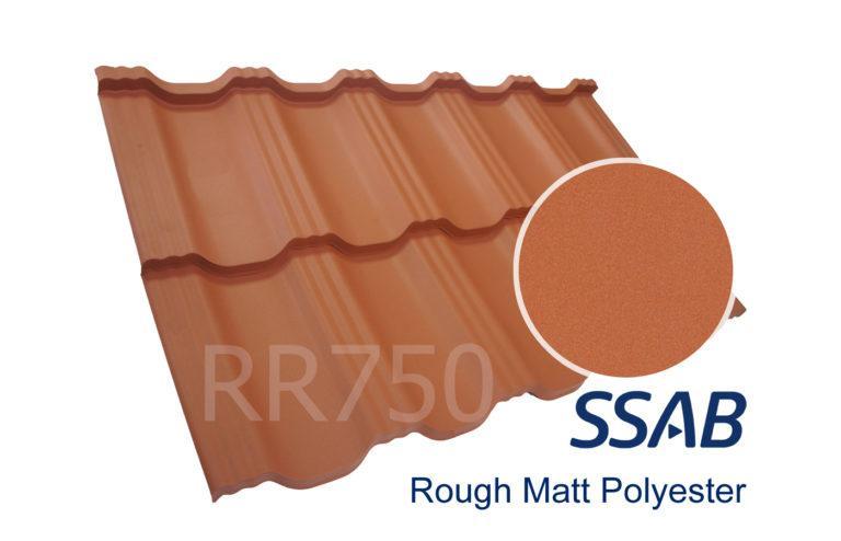 Модульная металлочерепица Dachpol EGERIA SSAB Polyester Rought Matt, RR750 Кирпичный