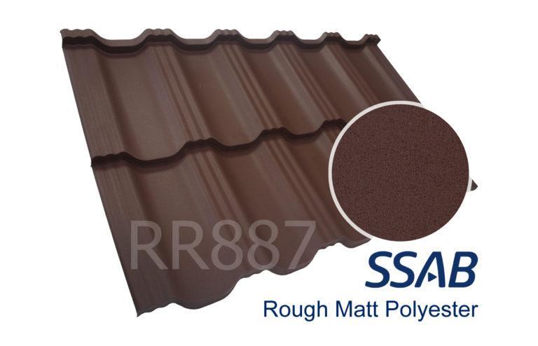 Модульная металлочерепица Dachpol EGERIA SSAB Polyester Rought Matt, RR887 Шоколадный
