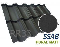 Модульная металлочерепица Dachpol EGERIA SSAB Pural Matt, RR33 Черный