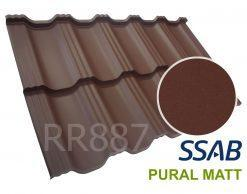 Модульная металлочерепица Dachpol EGERIA SSAB Pural Matt, RR887 Шоколадный