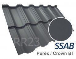 Модульная металлочерепица Dachpol EGERIA SSAB Purex/Crown BT, RR23 Графит (Серый)