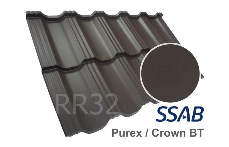 Модульная металлочерепица Dachpol EGERIA SSAB Purex/Crown BT, RR32 Темно-коричневый