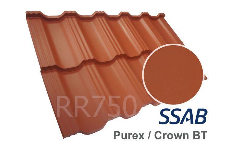 Модульная металлочерепица Dachpol EGERIA SSAB Purex/Crown BT, RR750 Кирпичный