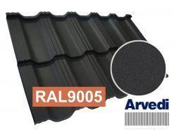 Модульная металлочерепица Dachpol EGERIA Arvedi STANDART Mat RAL 9005 (черный), 0.5мм, ZN225 гр/м2, покрытие 35мкм, Гарантия 20лет