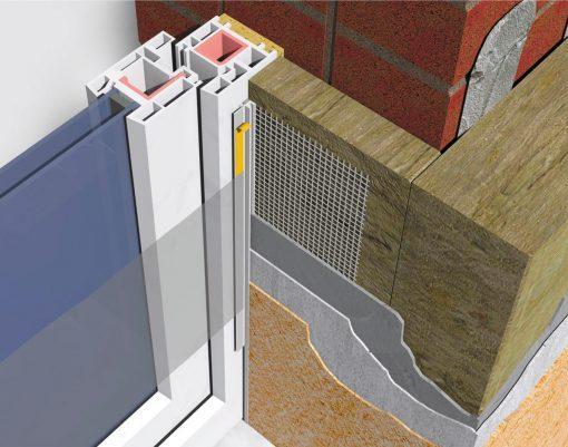 Profil Systems профиль примыкающий оконный 9 мм, с сеткой и пыльником, 2.4 м