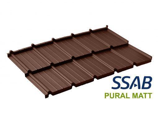 Dachpol FUTURA модульная металлочерепица SSAB Pural Matt RR 887 шоколадный (коричневый)