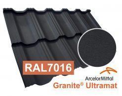 Модульная металлочерепица Dachpol Egeria, ArcelorMittal Granite Ultramat, RAL7016 антрацит