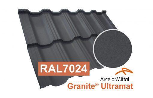 Модульная металлочерепица Dachpol Egeria, ArcelorMittal Granite Ultramat, RAL7024 графит