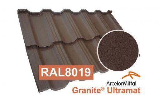 Модульная металлочерепица Dachpol Egeria, ArcelorMittal Granite Ultramat, RAL8019 темно-коричневый
