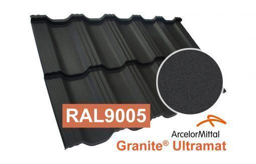 Модульная металлочерепица Dachpol Egeria, ArcelorMittal Granite Ultramat, RAL9005 черный