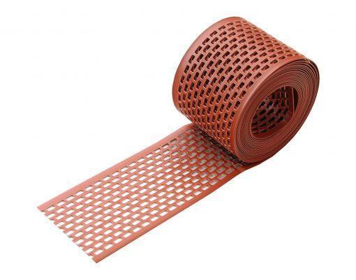 Лента сетка вентиляционная карнизного свеса пвх от насекомых цвет кирпичный ral 8004 100 мм x 5 м