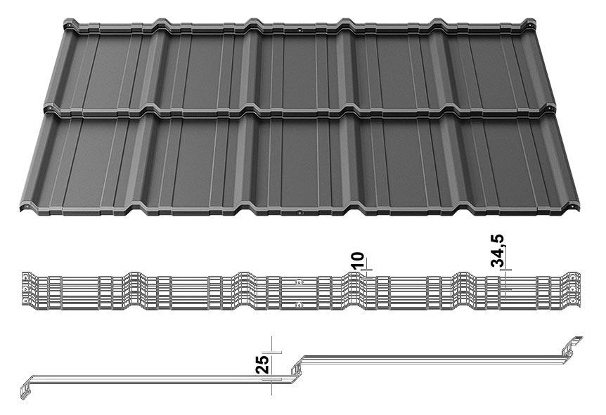 Размеры модульной металлочерепицы BudMat COMO